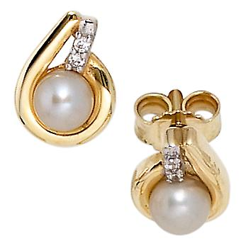 Pearl Earrings 333 yellow gold partly rhodium-plated 2 Freshwater Pearl 4 cubic zirconia beads earrings