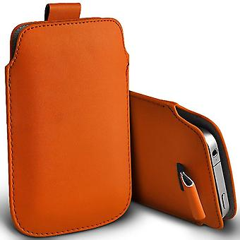 (Orange) Pull Tab Sleeve Faux Leather Pouch Case Cover For Alcatel Flash (2017)