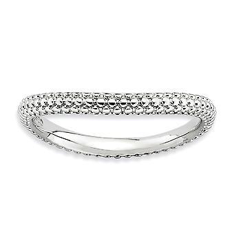 2,25 mm 925 Sterling Silber gemustert Rhodium vergoldet stapelbare Ausdrücke poliert Rhodium Platte Welle Ring Schmuck Geschenke