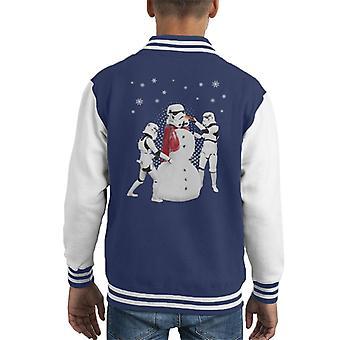 Original Stormtrooper Snowman Trooper Christmas Kid's Varsity Jacket