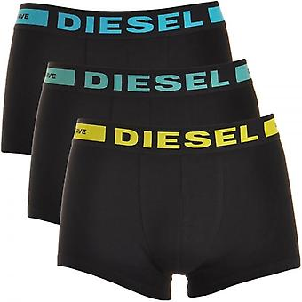 Diesel 3-Pack Boxer Trunk UMBX-Kory, Black With Blue / Green / Yellow, X-Large