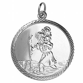 Zilveren 25mm ronde diamant geslepen rand St Christopher Pendant