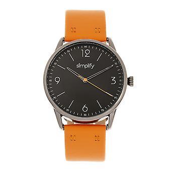 Simplify The 6300 Leather-Band Watch - Orange/Black
