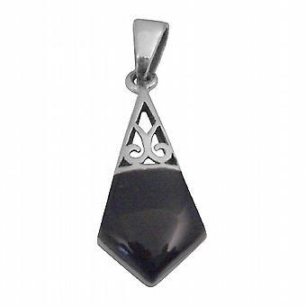 Vintage Inlaid Onyx Pendant Fabulous Pendant Sterling Silver Pendant