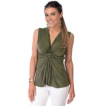 KRISP Womens Sleeveless Silky Noeud Avant Plunge V Neck Blouse Ruched Vest Top Party