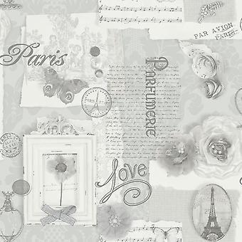 Arte felicidad París plata caligrafía Floral mariposa característica Wallpaper