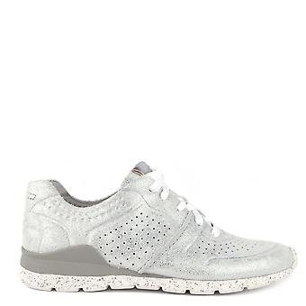 UGG Tye Stardust Metallic Silver Leather Trainer