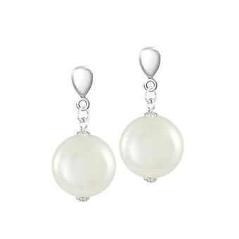 Evig samling Bloomsbury hvite skallet mynt perle Silver Tone slipp klipp på øredobber
