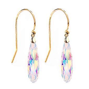 Ah! Jewellery Aurore Boreale Raindrop Crystals From Swarovski, Sterling Silver Hook Earrings