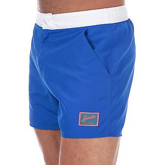 Mens Speedo Vintage 14 Swim Shorts In Blue-White-Ribbed Waistband-Zip Fly