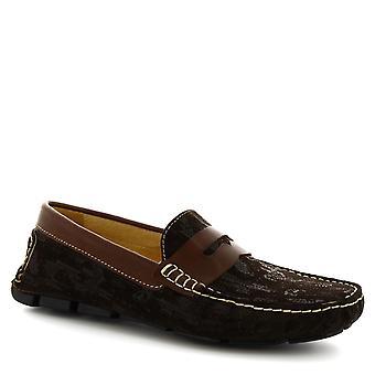 Leonardo schoenen mannen handgemaakte rijden loafers in donker bruin suède leder
