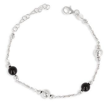 Rhodié Zilveren armband met zwarte parel en gehamerde bal 18cm