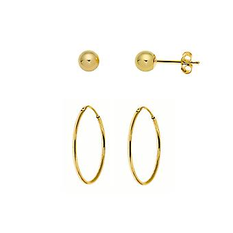 The Olivia Collection Laides, Gents, Children's 9ct Yellow Gold 14mm Hoop Tube Sleeper + 9ct Yellow Gold 4mm Ball Stud Earrings  - 1 Pair Of Each
