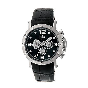 Reign Toretto Automatic Leather-Band Watch - Silver/Black