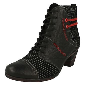 Ladies Remonte Lace Up Heeled Boots D8786