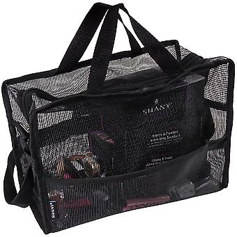 SHANY Collapsible Mesh Bag – Large See-Thru Travel Tote with Shoulder Straps – Water-Resistant with Zippered Pockets – Black