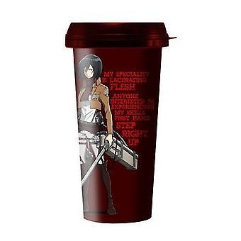 Travel Mug - Attack On Titan - Mikasa Quote New ptmg-aot-mkq