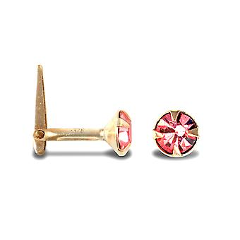 Jewelco London Ladies 9ct Yellow Gold Pink Round Crystal Solitaire Claw Set Andralok Hinged Nose Stud 4mm