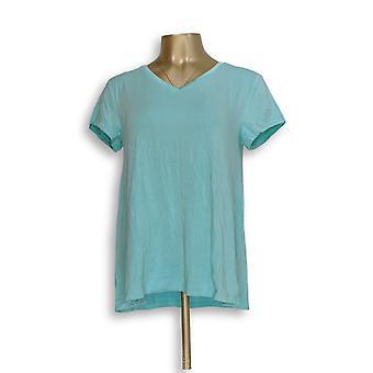 H de Halston Women's Top Essentials V-Neck Top Forward Blue A306231