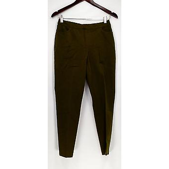 Isaac Mizrahi Live! Mujeres's Pantalones Petite 4 24/7 Stretch Slim Green A309567