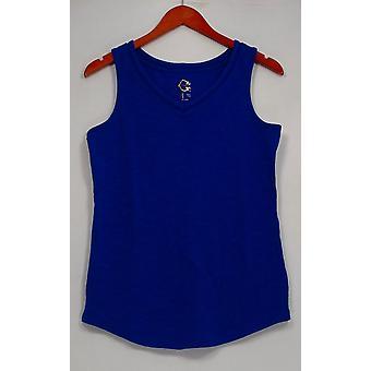 C. wonder Women ' s top Essentials V-hals gebogen hem tank blauw A288824