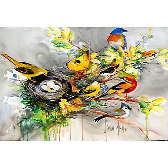 Carolines Treasures  JMK1024PLMT Spring Birds Fabric Placemat