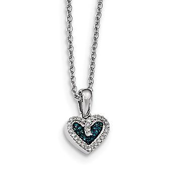 925 Sterling Silver Open terug Gift Boxed Rhodium vergulde Kreeft Claw Closure Blue en White Diamond Love Heart Hanger N