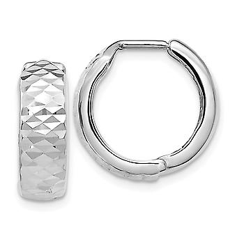 5.3mm 10k White Gold Polished and Sparkle Cut Hoop Earrings Jewelry Gifts for Women