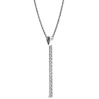 Dazzlingrock Collection 0.45 Carat (ctw) 14K Round Diamond Vertical Bar Pendant (Silver Chain Included) 1/2 CT, White Gold