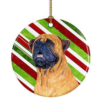 Bastón de caramelo de Mastín vacaciones Navidad adorno cerámica SS4589
