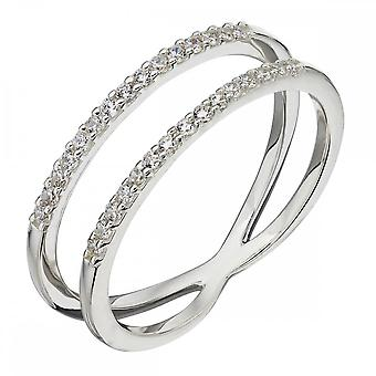 Elements Silver Silver Plate White CZ Double Band Ring R3681C