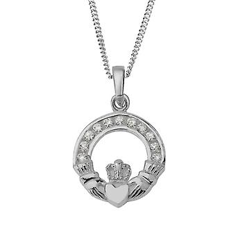 "Celtic Irish Claddagh Amore Fedeltà Amicizia Collana Ciondolo - Cubic zorconia Stones - Include 16"" Chain"