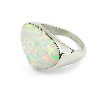 Sterling Silver Traditional Scottish Sahara Sunset Design Ring with White Opal
