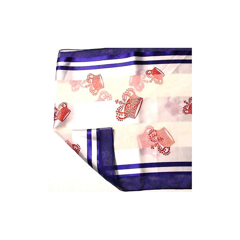 Union Jack Wear Cream Scarf, Blue Edge & Red Crowns Royal Silky Scarve