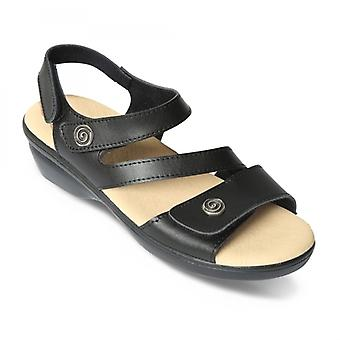 Padders Madeira Ladies Leather Wide (e Fit) Sandals Black