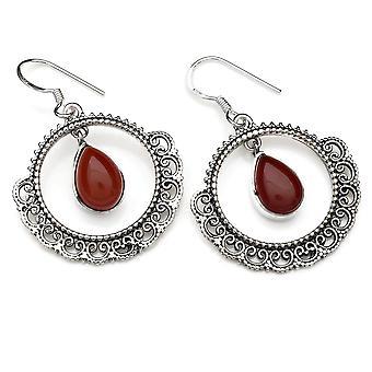 Ohrringe Ohrhänger Silber 925 Sterlingsilber Karneol orange rot Stein  (Nr: MOH 124-16)