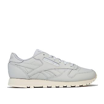 Womens Reebok Classic Leather Trainers In Skull Grey / Pure Silver / Paper White