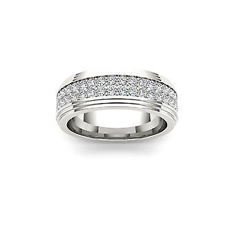 Igi certificato solido 14k oro bianco 1.150 ct diamante uomini's anello banda nuziale