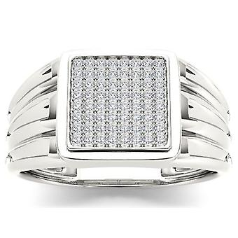 Igi certified 10k white gold 0.20 ct diamond men's cluster wedding band ring
