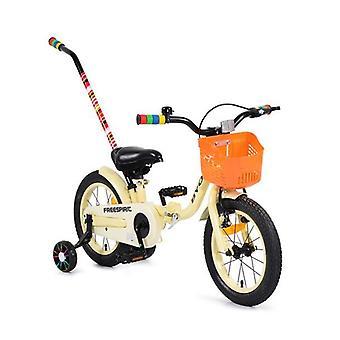 Vélo pour enfants 14 Freespirit beige, pliable, pushrod, cloche, panier avant