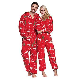 Adult Unisex Reindeer Hooded Adult Onesie Pajamas Plus Size Fleece Warm Jumpsuit