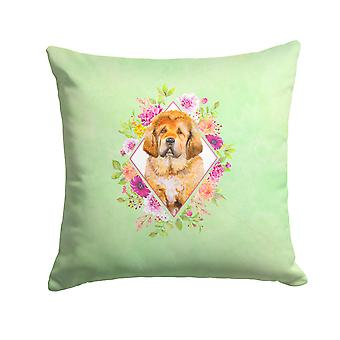 Tibetian Mastiff Puppy Green Flowers Fabric Decorative Pillow