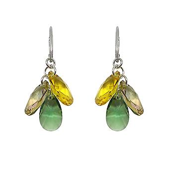 Earrings Indicolite Fleur DOFLEUR360 - earrings Silver 925/00 crystals Swarovski green and yellow