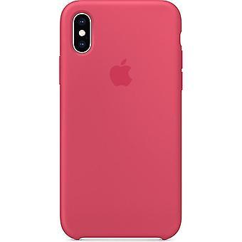 IPhone XS için Orijinal Paketli Apple Silikon Mikrofiber Kılıf - hibiskus