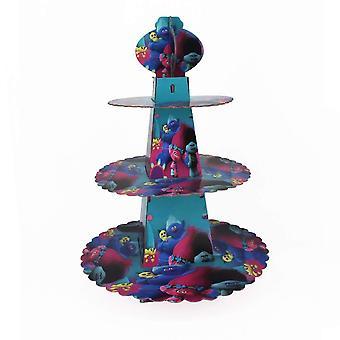 Trollen thema opvouwbare kartonnen 3-tier cupcake stand