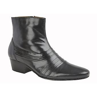 Kensington Mens Pleated Cuban Heel Leather Ankle Boots