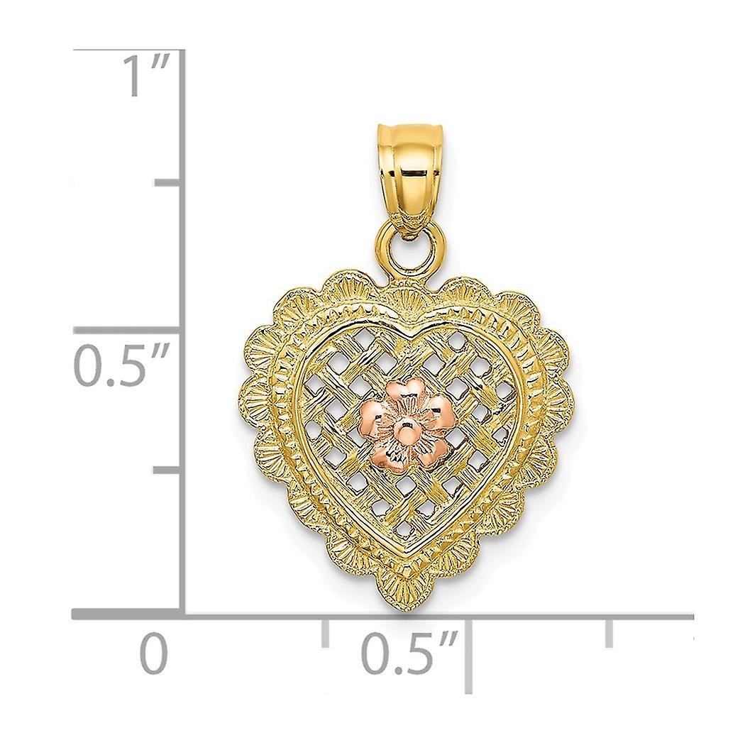 16mm 14k Two tone Gold Pink Flower Basket Weave Love Heart Pendant Necklace With Scalloped Edge Jewelry Gifts for Women
