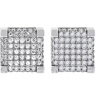 925 Sterling Silver Mens CZ Cubic Zirconia Simulated Diamond Square Stud Earrings Jewelry Gifts for Men