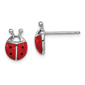 925 Sterling Silver Madi K Enameled Lady Bug Post Earrings Jewelry Gifts for Women - 1.5 Grams