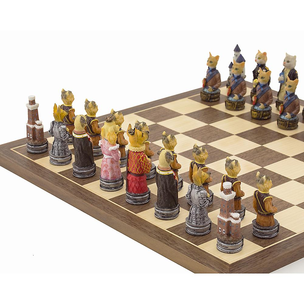 The Cats Vs Dogs Hand painted themed Chess set by Italfama